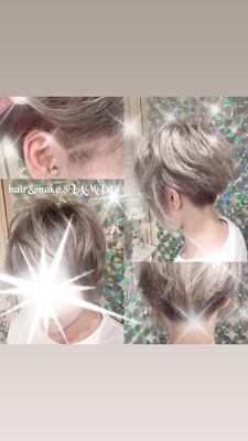 ツーブロックカット もみあげライン シルバーアッシュカラー ご予約 082-221-3872           hair&make 8LAMIA8