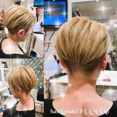 ツーブロックアシメ くせ毛が強いお客様です。 くせに合わせてドライカットで! ご予約 082-221-3872         hair&make  8LAMIA8