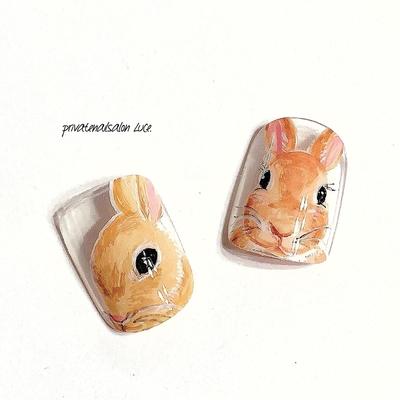 . #nail#nailart#gel#gelnail#サンプル #デザイン#ネイルチップ#練習 #ペットネイル#リアルペット#可愛い #動物#🐰#うさぎ#rabbit#animal #kawaii#ペット#手描きアート#👩🏻🎨 #instanail#nailistagram#nailist#🏡 #奈良#自宅サロン#お家ネイル#Luce.