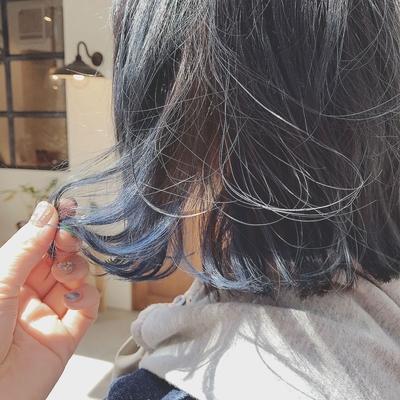 #ブルージュ  #デニムカラー #インナーカラー #ブルー  #ヘアスタイル  #ボブ #外国人風カラー  #プライベートサロン  #nanon