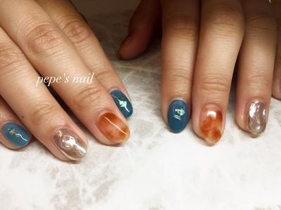 お客様ネイル💅 ・ #pepesnail #nail #nailart #nailstagram #gelnail #nails  #paragel #pregel#pregelmuse#vetro#bellaforma #handnail#ネイル #ネイルアート#ニュアンスネイル #ニュアンス#クリアべっ甲#ミラーネイル #ハンドネイル  #自宅ネイル#大分市ネイル #大分市森
