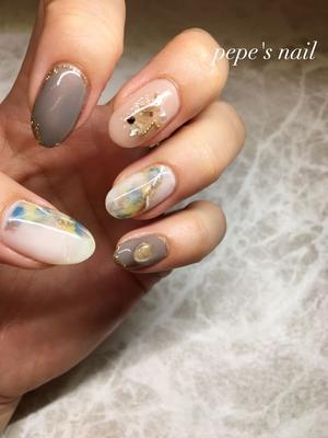 my nail💅 涼しげなアートでもくすみカラーとの相性🙆♀️ ・ #pepesnail #nail #nailart #nailstagram #gelnail #nails  #paragel #agehagel #pregel#vetro#bellaforma #handnail#mynail#mynails #ネイル #ネイルアート#ニュアンスネイル#ハンドネイル #手描きアート #手描きネイル#大分市ネイル #マイネイル #自宅ネイル#大分市森