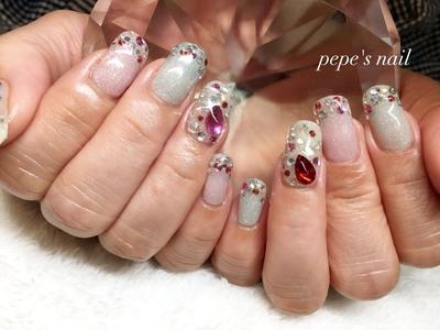 お客様ネイル💅 ALL #agehagel ワンカラーにストーンでキラキラ〜✨ すごく塗りやすいカラーでした♡ ・ #pepesnail #nail #nailart #nailstagram #gelnail #nails  #paragel #ageha #agehagel #pregel#pregelmuse#vetro#bellaforma #handnail#ネイル #ネイルアート#ワンカラー#ストーン#ストーンネイル #ハンドネイル  #自宅ネイル#大分市ネイル #大分市森