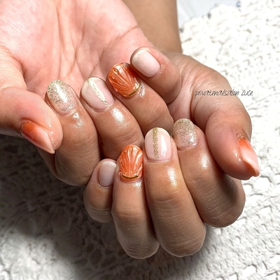 . #艶 #大人可愛い #simplenails #shortnails #orange #人魚の鱗 #ラメ #kawaii #💅🏻 #nail #gelnail #nailist #nailart #naildesign #お客様ネイル #nara #奈良県 #奈良ネイルサロン #お家ネイル #自宅サロン #privatenailsalonLuce. #Nailbook #tredina #掲載 #instagram #instanail  #nailistagram #instalike #instagood #nails2019