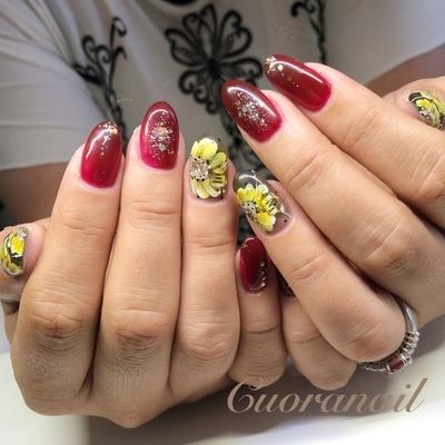 いつもありがとうございます⸜(*ˊᵕˋ*)⸝💕✨ 秋色です💕💅✨ 🍁🍂 #ひまわりネイル #ボルドーネイル #フラワーネイル #ネイル #ネイルデザイン #ネイルアート #nail #nails #nailart #naildesign #naildesigns #nailstagram #sunflower #sunflowernails #bordeaux #帯広ネイルサロン #帯広ネイル #帯広 #札内 #幕別 #幕別ネイルサロン #音更 #音更ネイルサロン #obihiro #tokachi #hokkaido