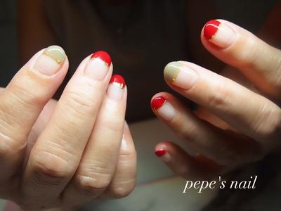 お客様ネイル💅 深みのある赤とベージュで秋らしいフレンチに♡ ・ #pepesnail #nail #nailart #nailstagram #gelnail #nails  #paragel #ageha #agehagel #pregel#pregelmuse#vetro#bellaforma #handnail#ネイル #ネイルアート#オフィスネイル#フレンチネイル #変形フレンチ#秋ネイル #ハンドネイル  #自宅ネイル#大分市ネイル #大分市森